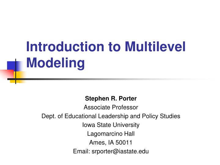 introduction to multilevel modeling n.