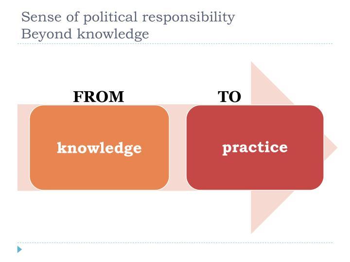 Sense of political responsibility           Beyond knowledge
