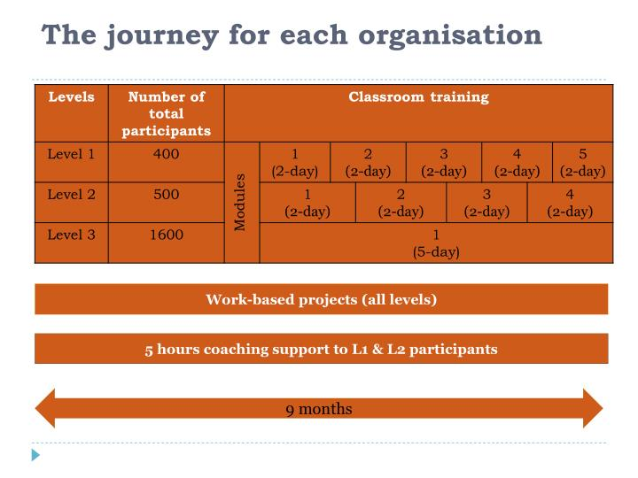 The journey for each organisation