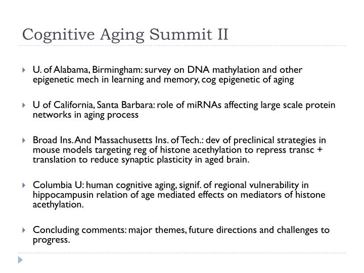 Cognitive aging summit ii
