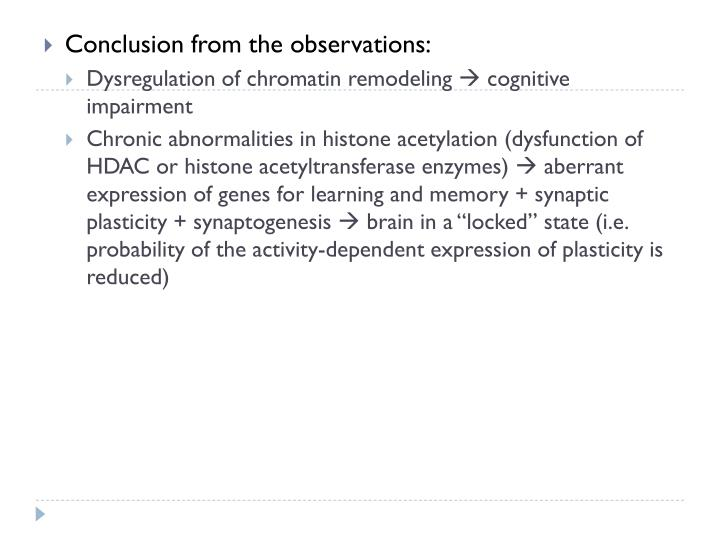 Conclusion from the observations: