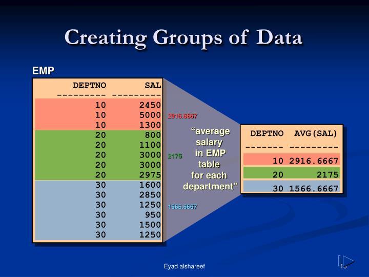 Creating Groups of Data