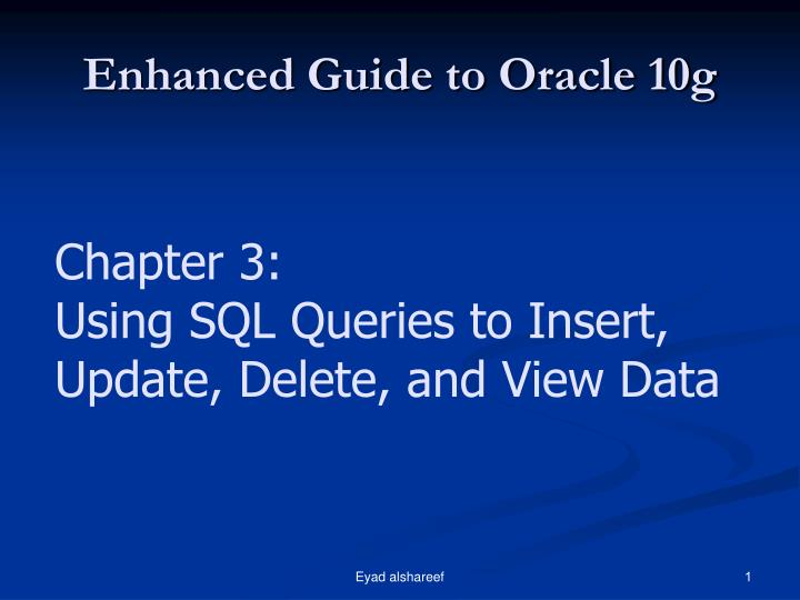 enhanced guide to oracle 10g n.