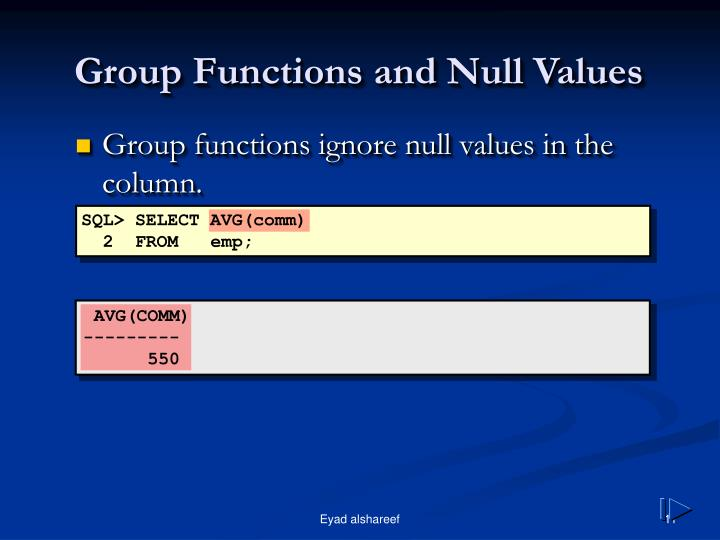 Group Functions and Null Values