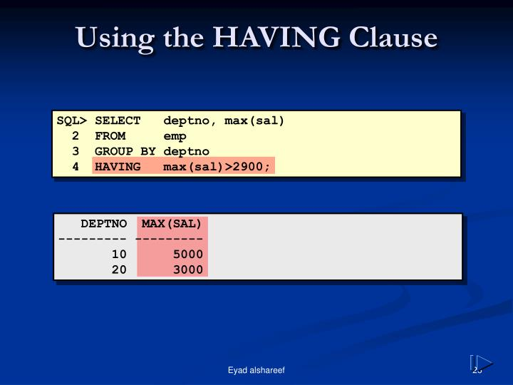 Using the HAVING Clause