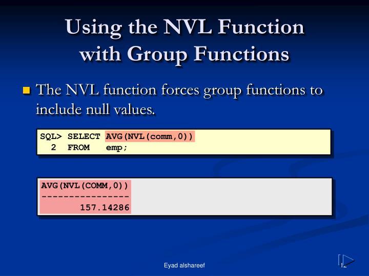 Using the NVL Function