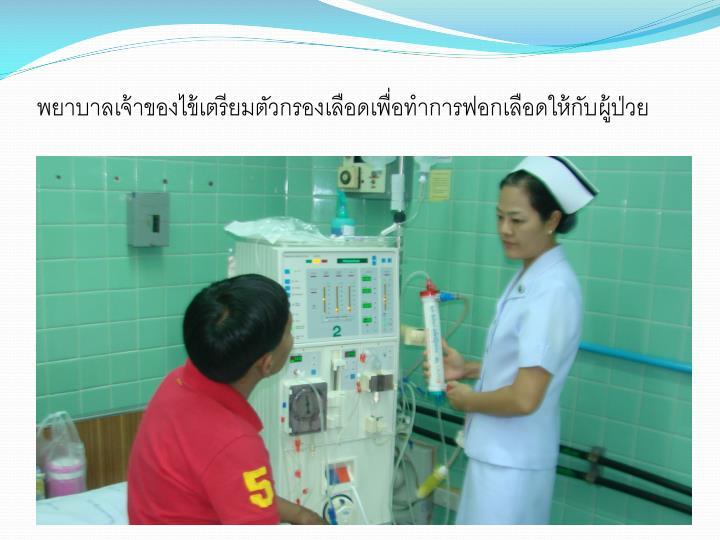 พยาบาลเจ้าของไข้เตรียมตัวกรองเลือดเพื่อทำการฟอกเลือดให้กับผู้ป่วย