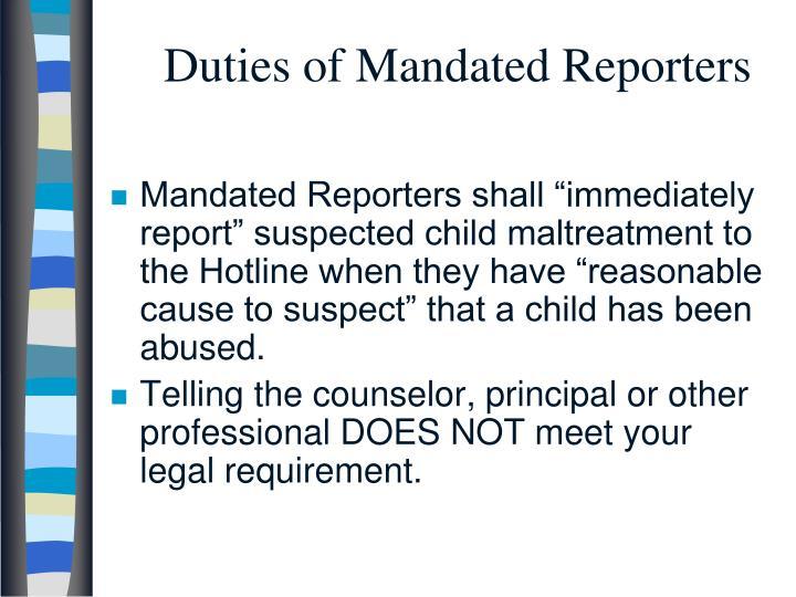 Duties of Mandated Reporters