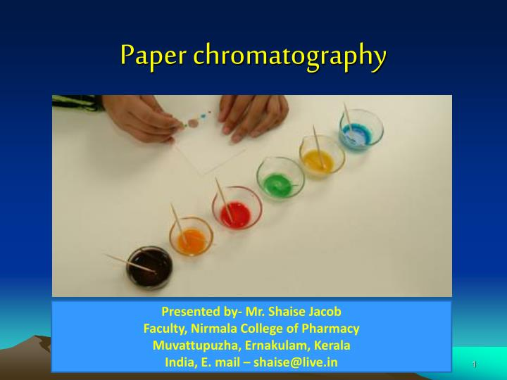 paper chromatography history Thin layer chromatography - history history the origin of thin layer chromatography is a little obscure but was probably first developed and utilized by.