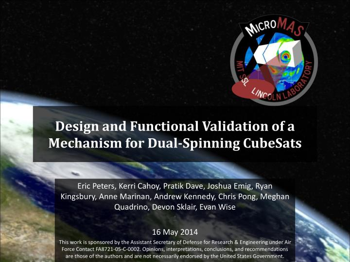 design and functional validation of a mechanism for dual spinning cubesats n.