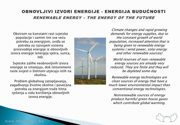 OBNOVLJIVI IZVORI ENERGIJE - ENERGIJA BUDUĆNOSTI