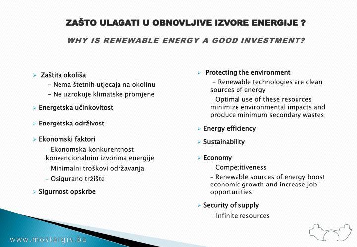 ZAŠTO ULAGATI U OBNOVLJIVE IZVORE ENERGIJE ?