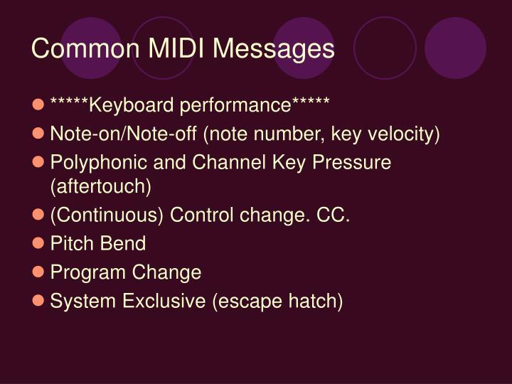 Common MIDI Messages