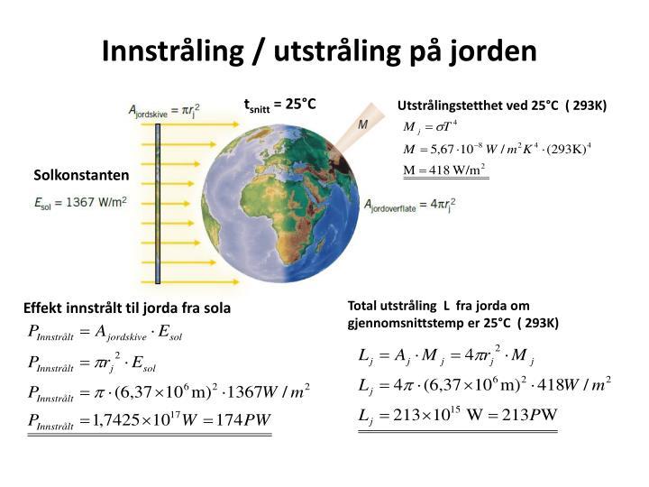 Innstråling / utstråling på jorden
