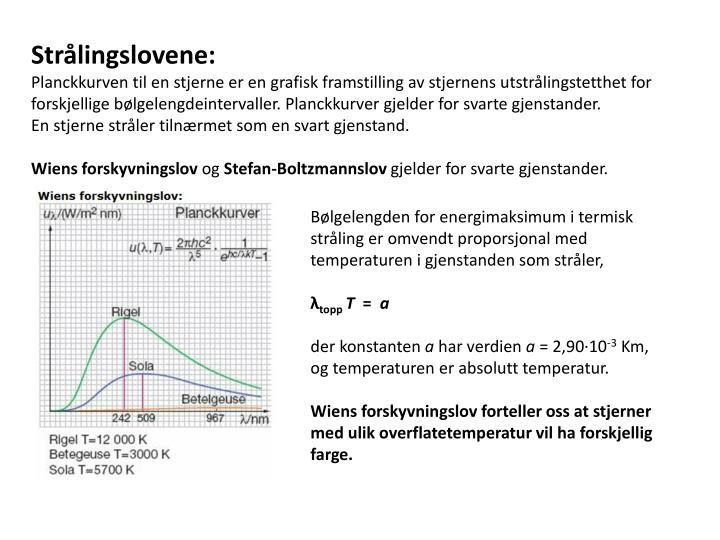 Bølgelengden for energimaksimum i termisk stråling er omvendt proporsjonal med temperaturen i gjen...