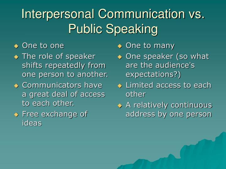 Interpersonal communication vs public speaking