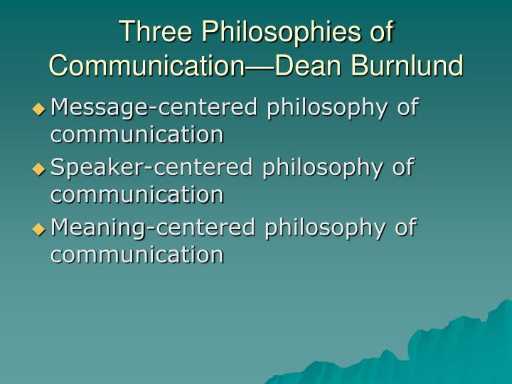 Three Philosophies of Communication—Dean Burnlund