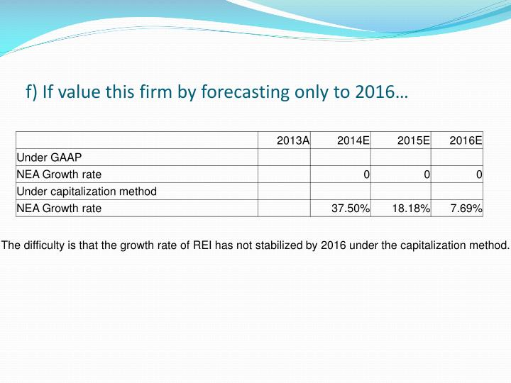 f) If value this firm by forecasting only to 2016…