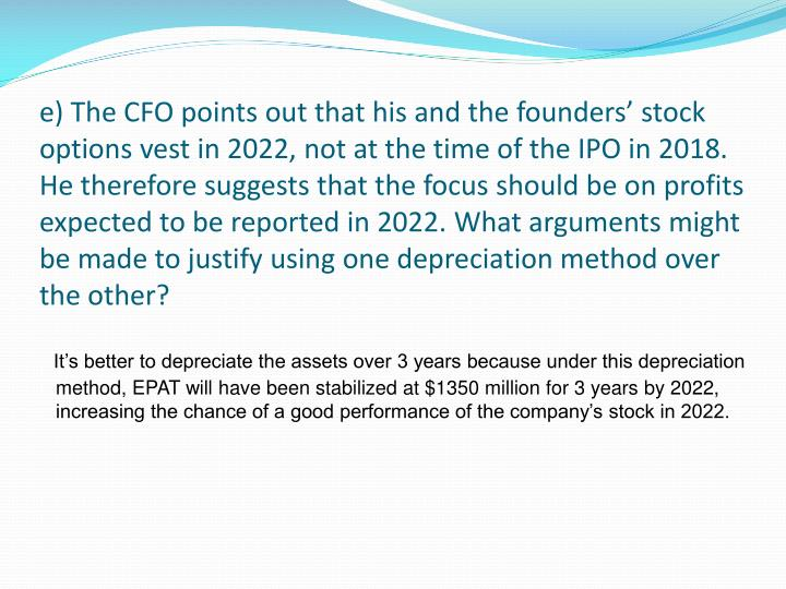 e) The CFO points out that his and the founders' stock options vest in 2022, not at the time of the IPO in 2018. He therefore suggests that the focus should be on profits expected to be reported in 2022. What arguments might be made to justify using one depreciation method over the other?