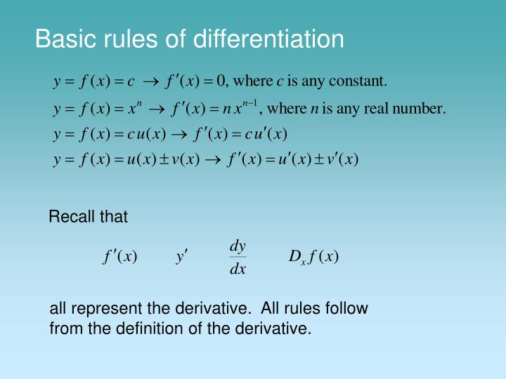 basic rules of differentiation n.