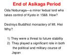 end of asikaga period