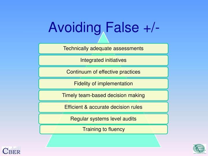 Avoiding False +/-