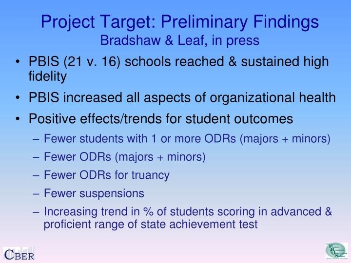 Project Target: Preliminary Findings