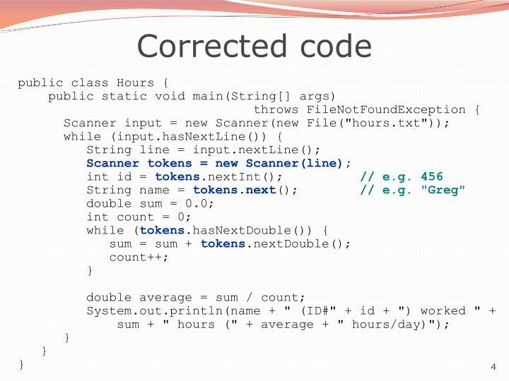Corrected code