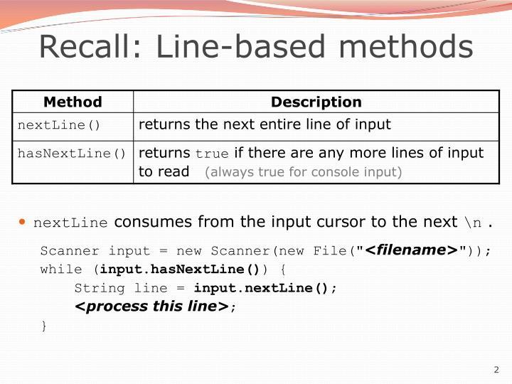 Recall line based methods