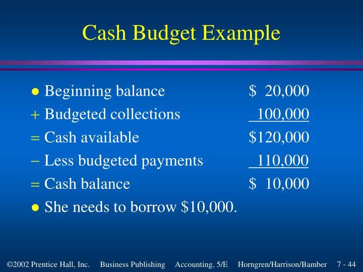 Cash Budget Example