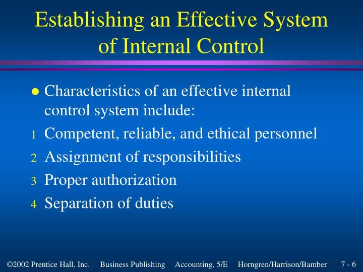Establishing an Effective System of Internal Control