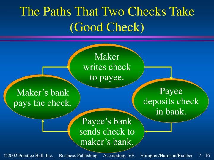 The Paths That Two Checks Take (Good Check)