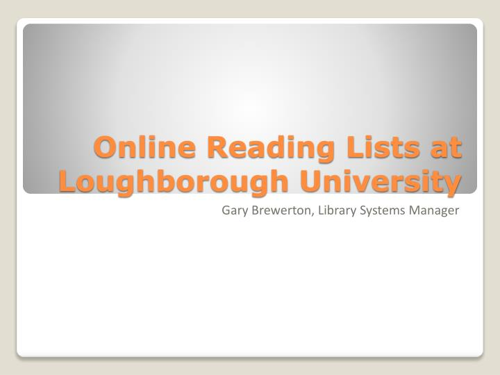 online reading lists at loughborough university n.