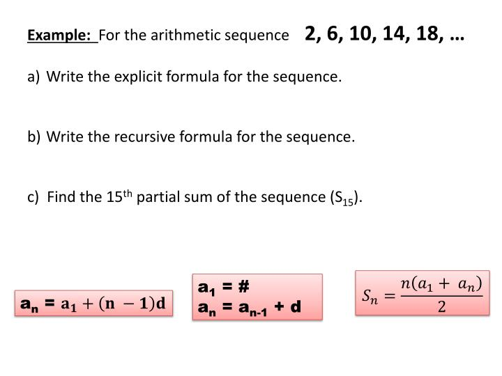 ppt  arithmetic sequences sequence is a list of numbers