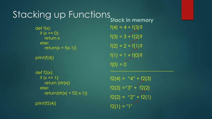Stacking up Functions