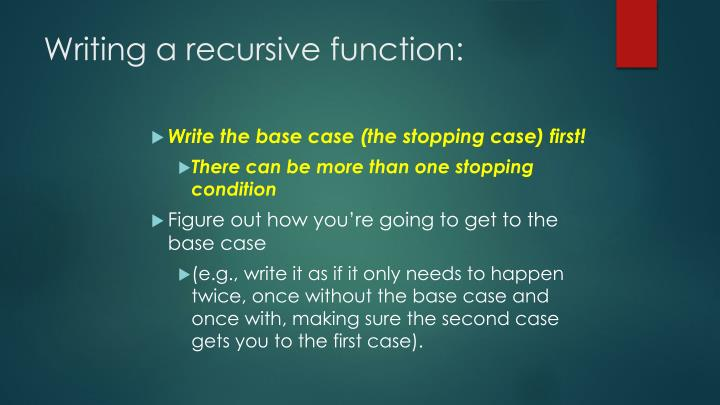 Writing a recursive function: