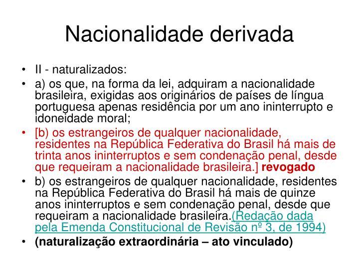 Nacionalidade derivada