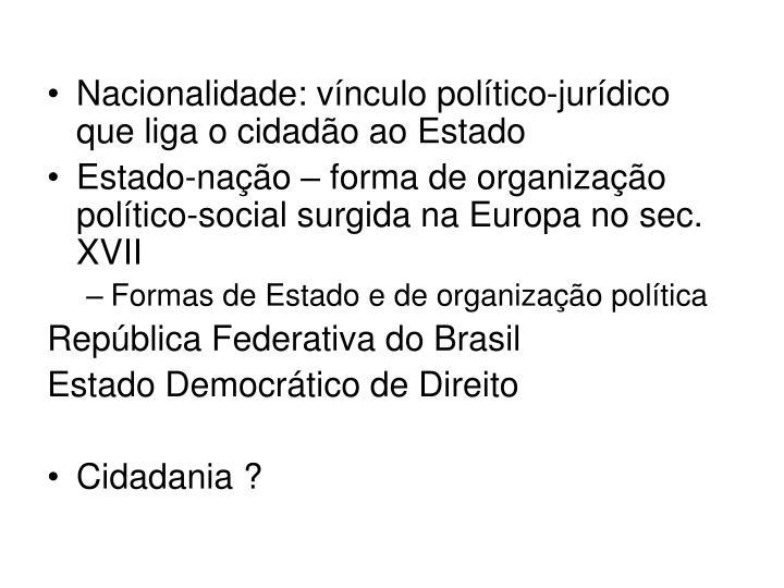 Nacionalidade: vínculo político-jurídico que liga o cidadão ao Estado