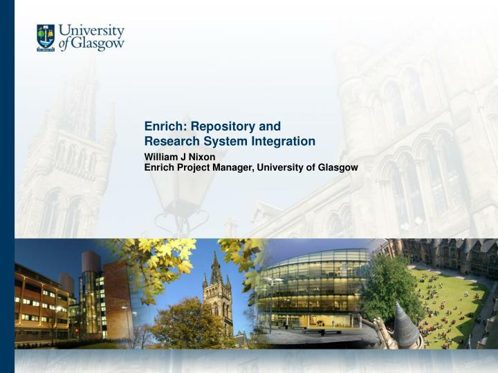 enrich repository and research system integration n.