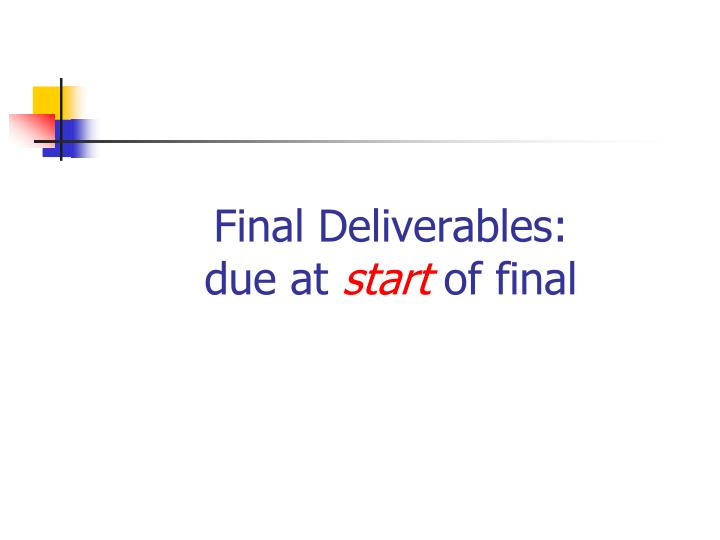 Final deliverables due at start of final