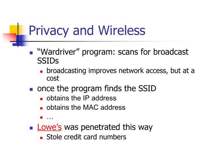 Privacy and Wireless