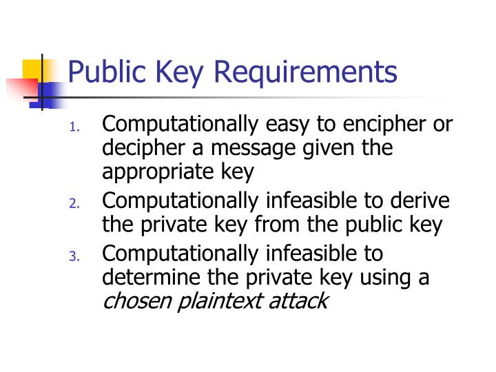 Public Key Requirements