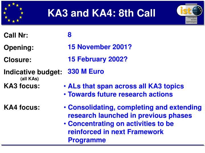 KA3 and KA4: 8th Call