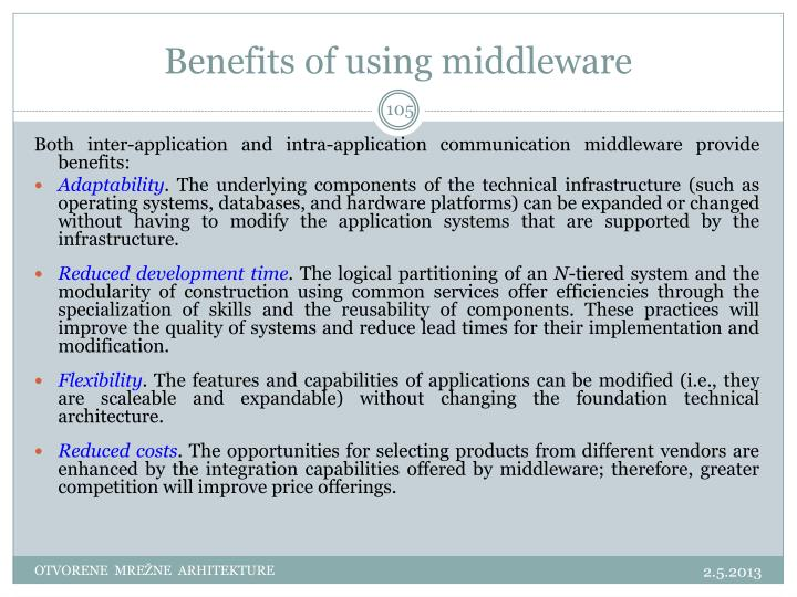 Benefits of using middleware