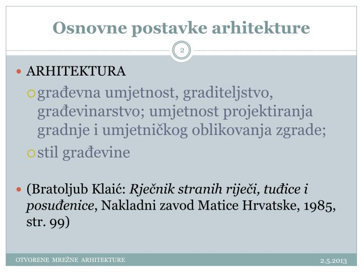 Osnovne postavke arhitekture