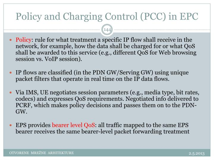 Policy and Charging Control (PCC) in EPC