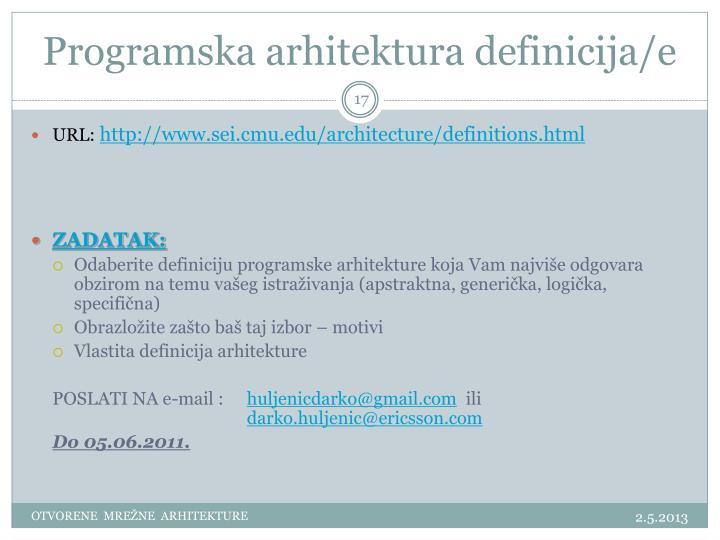 Programska arhitektura definicija/e