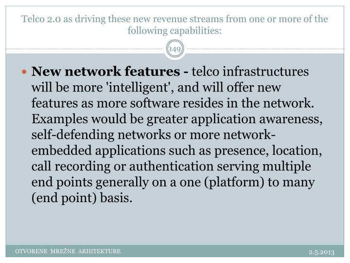 Telco 2.0 as driving these new revenue streams from one or more of the following capabilities: