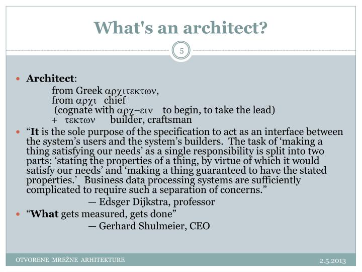 What's an architect?