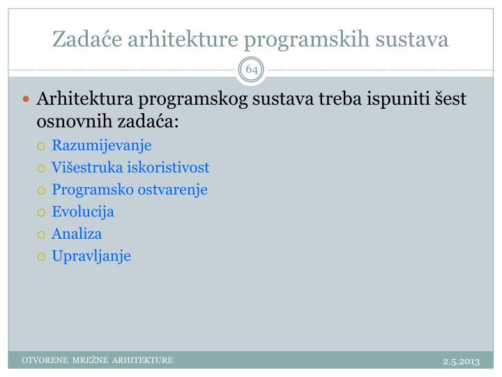 Zadaće arhitekture programskih sustava